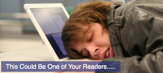 A sleepy reader without a call to action