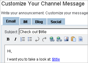 Customize Channel Message