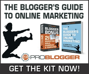 The Blogger's Guide to Online Marketing has 31 Steps to a Profitable Blog is a comprehensive, 31 chapter blueprint for your blog's ongoing profitability – right from the ground up.  Backed by an extensive library of practical templates, printable worksheets, and in-practice example documents, this kit delivers all you need to make your blog turn a profit now, and over the long term.