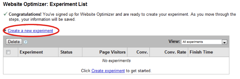 Google Website Optimizer dashboard