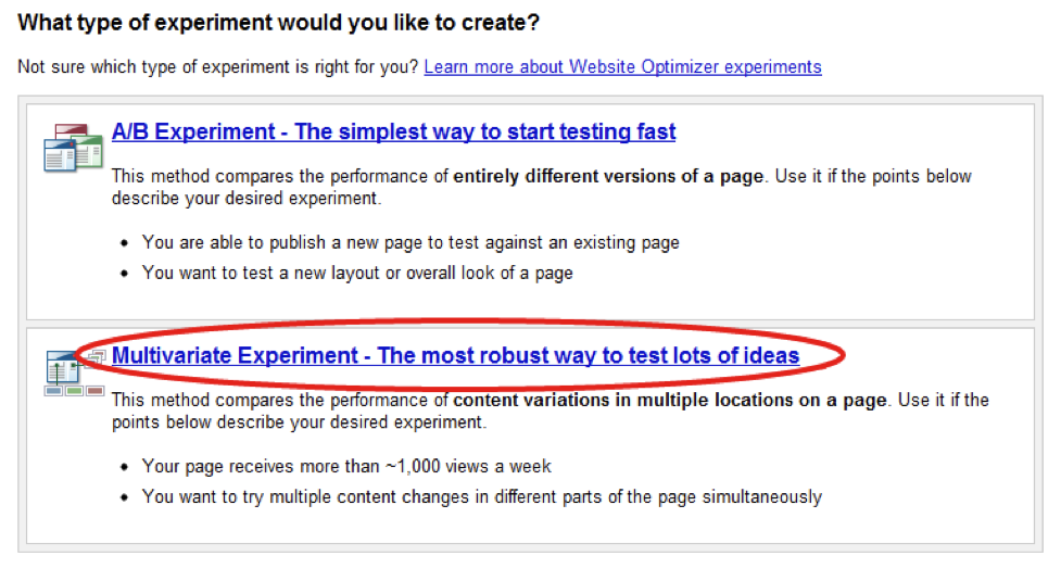 Google Website Optimizer multivariate experiment