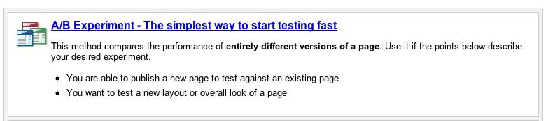 Select A/B testing