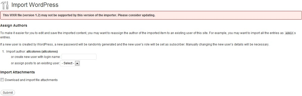 The file version warning