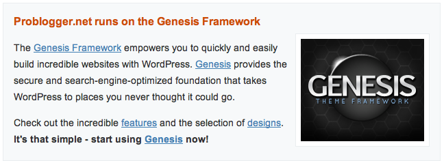 Genesis ad on ProBlogger