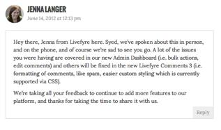 Livefyre comment