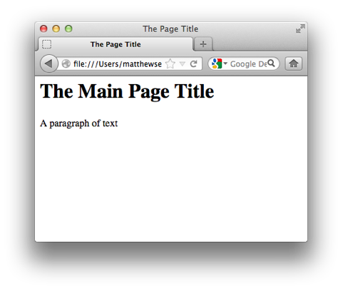 Viewing the page in Firefox