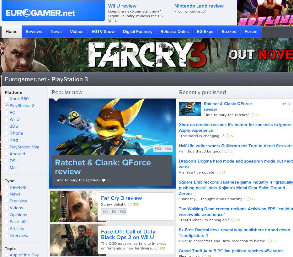 Eurogamer layout