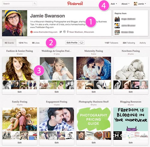 Pinterest Boards and Profile