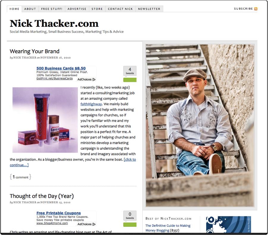 Nick's original homepage