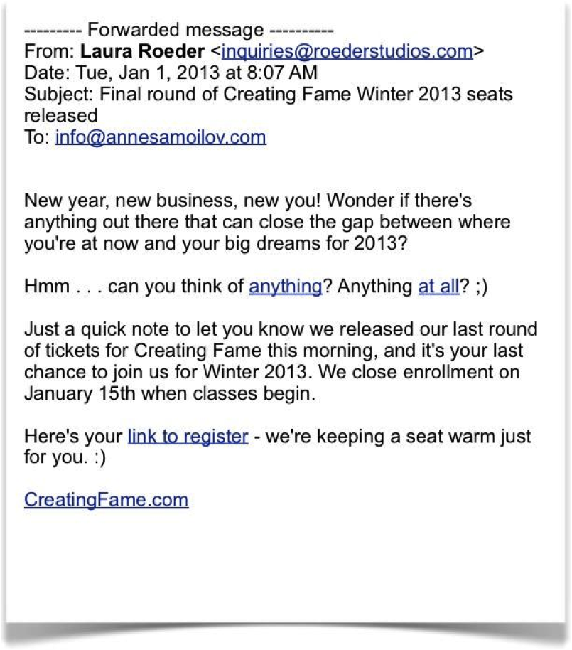 Email by Laura Roeder