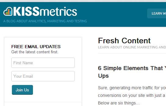 KissMetrics newsletter sign up box
