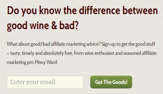 MissyWard newsletter sign up box