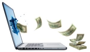money jumping from Laptop like blog advertising