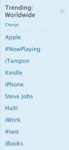 Twitter trending topics