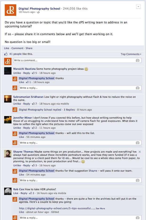 Questions facebook dps