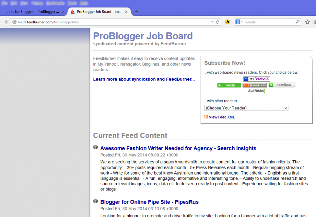 Problogger Job Board RSS Feed
