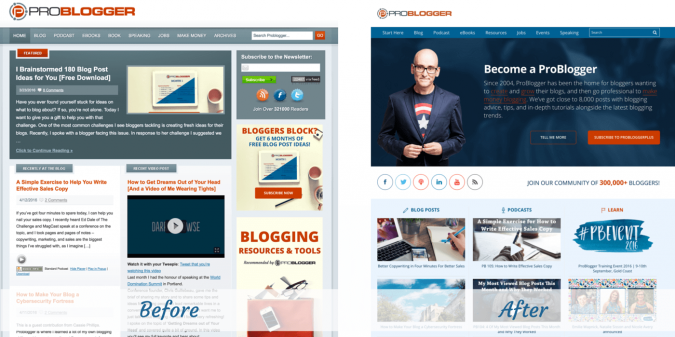 ProBlogger site design before and after