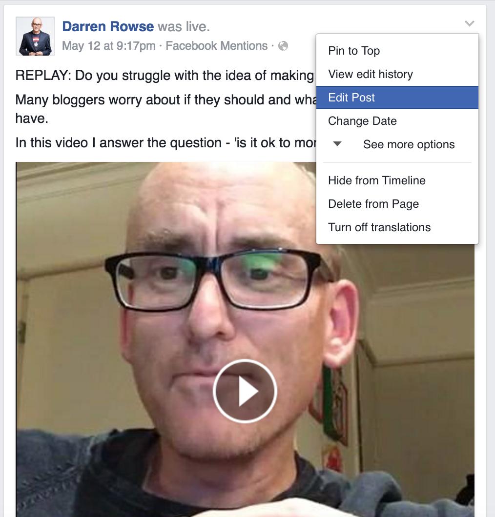 Edit facebook live video