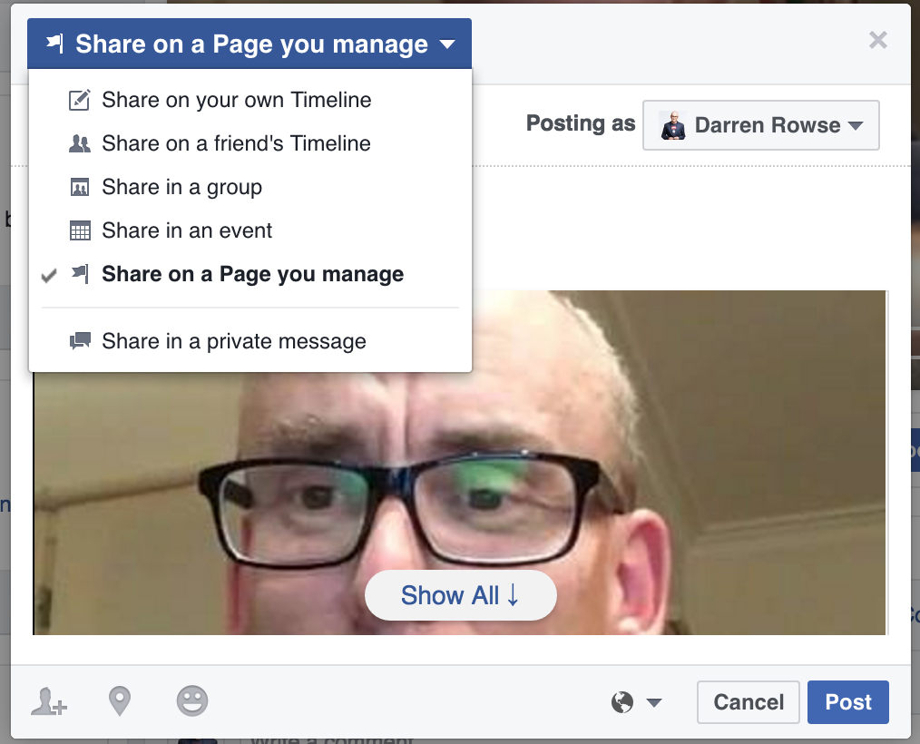 facebook live video share to page or group
