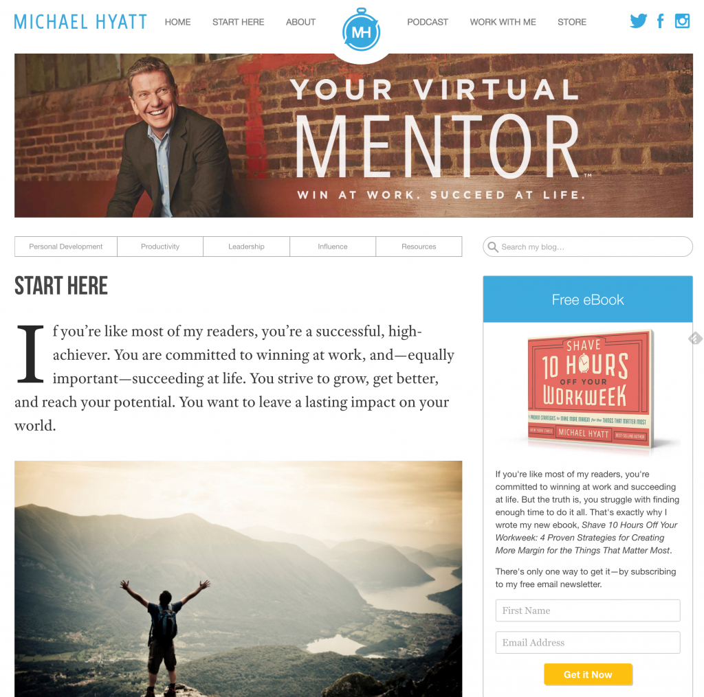 michael hyatt start here page