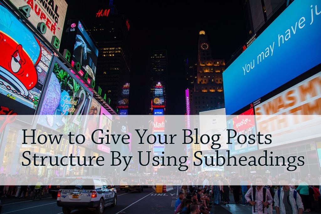how to add subheading to blog