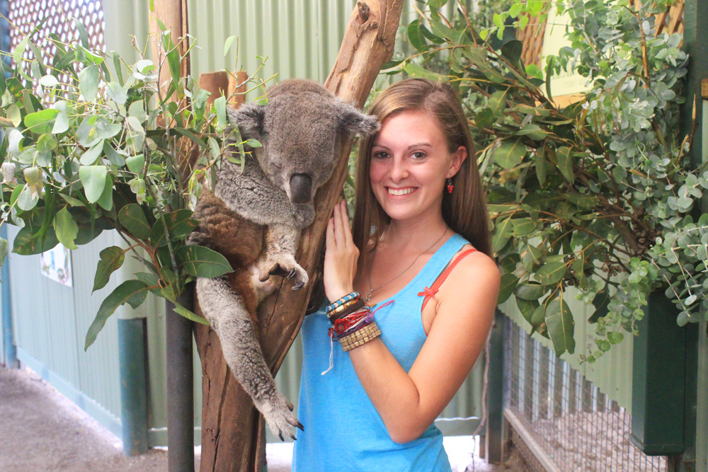 Lauren with a koala in Sydney, Australia
