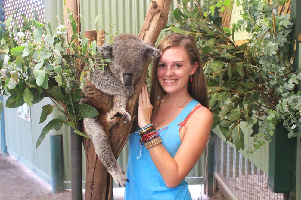 Lauren with a koala in Sydney, Australia